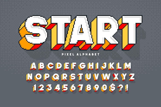Desenho de alfabeto vetorial de pixel, estilizado como em jogos de 8 bits