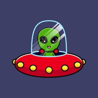 Desenho de alienígena fofo com ovni flutuante