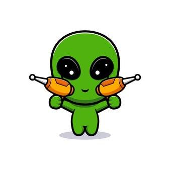 Desenho de alienígena fofo e arma