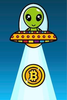 Desenho de alienígenas andando de bitcoin sugando ufo