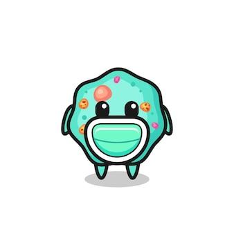 Desenho de ameba fofo usando uma máscara, design de estilo fofo para camiseta, adesivo, elemento de logotipo
