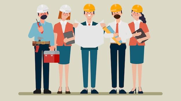 Desenho de animação de personagem plano de trabalho em equipe de engenharia