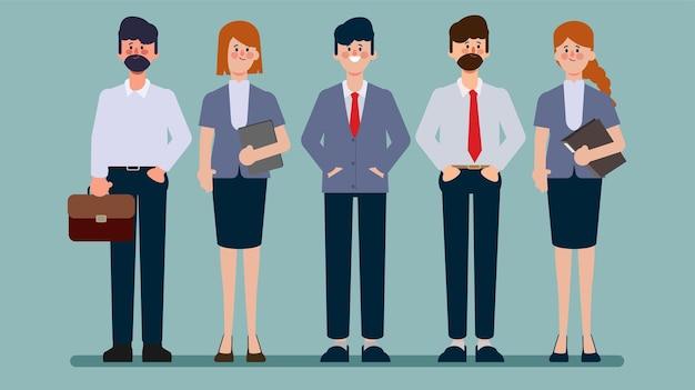 Desenho de animação de personagem plano de trabalho em equipe de negócios