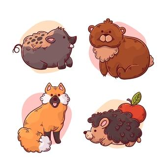 Desenho de animais da floresta de outono