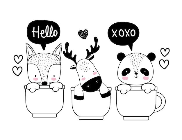 Desenho de animais fofos em copos