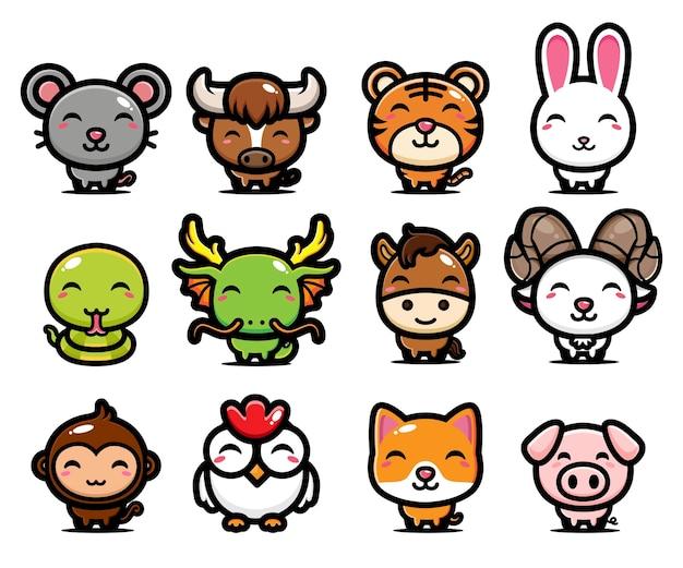 Desenho de animal fofo do zodíaco chinês