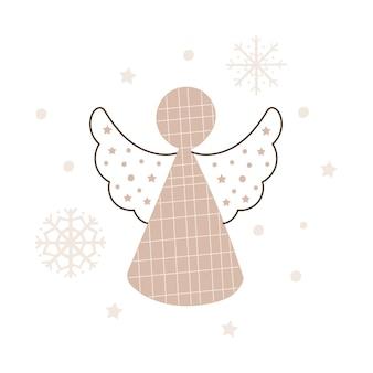 Desenho de anjo de natal. ilustração vetorial.