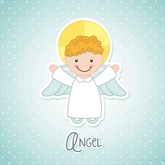 Desenho de anjo sobre ilustração vetorial de fundo azul