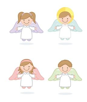 Desenho de anjo sobre ilustração vetorial de fundo branco