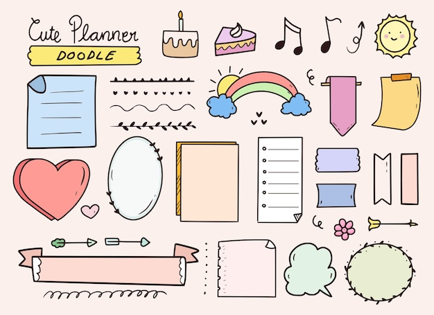 Desenho de anotações de elementos de diário com marcadores