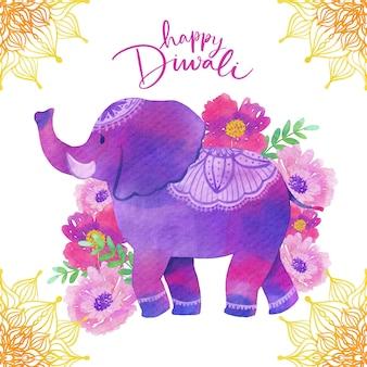 Desenho de aquarela diwali com elefante