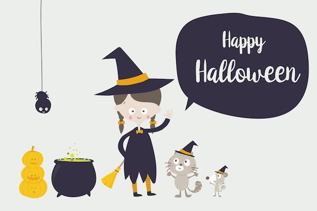 Desenho de aranha e rato gato fofo bruxa