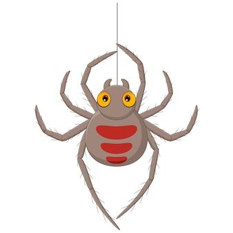 Desenho de aranha pendurado em uma teia Vetor Premium