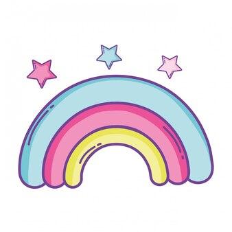 Desenho de arco-íris e estrelas