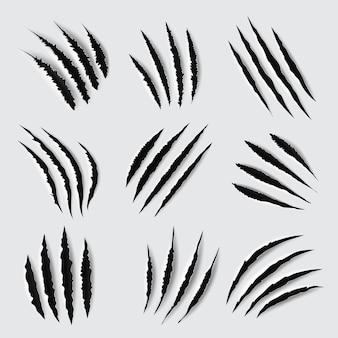 Desenho de arranhões e marcas de garras de rastros rasgados de patas de animais