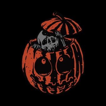 Desenho de arte de ilustração de crânio de terror e halloween