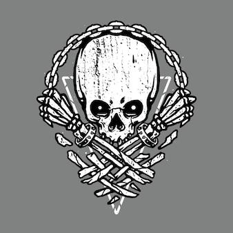 Desenho de arte de ilustração de terror e crânio