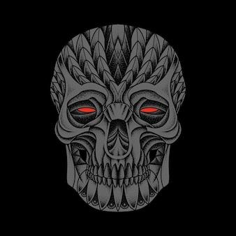 Desenho de arte ilustrativa ornamentada de terror e crânio