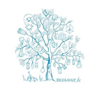 Desenho de árvore de ecologia