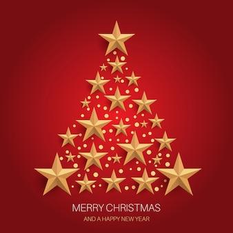 Desenho de árvore de natal com estrelas douradas