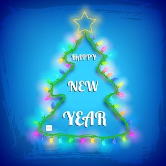 Desenho de árvore de natal com luzes coloridas de guirlandas de estrelas e saudação na ilustração texturizada azul