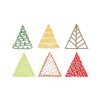 Desenho de árvore de natal desenhado à mão em multicolor