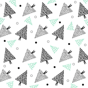 Desenho de árvore de natal desenhado à mão em padrão uniforme