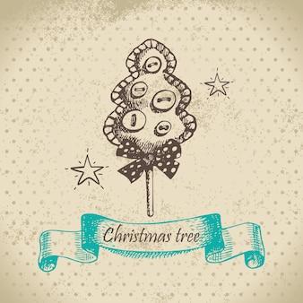 Desenho de árvore de natal desenhado à mão