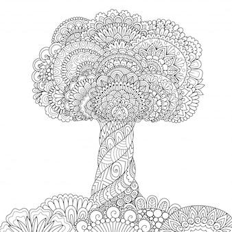 Desenho de árvore zentangle, página para colorir