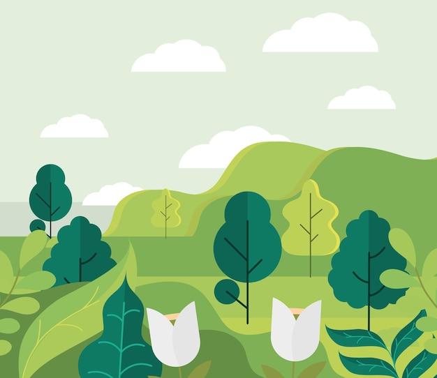 Desenho de árvores de paisagem