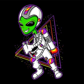 Desenho de astronauta alienígena