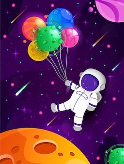 Desenho de astronauta bonito flutuando com o planeta balão no fundo do espaço.