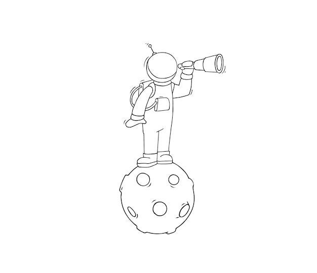 Desenho de astronauta com luneta.