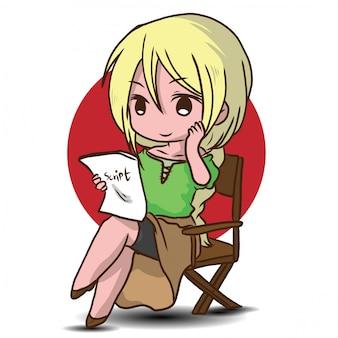 Desenho de ator bonito.