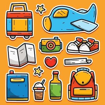 Desenho de autocolante de viagem do doodle kawaii