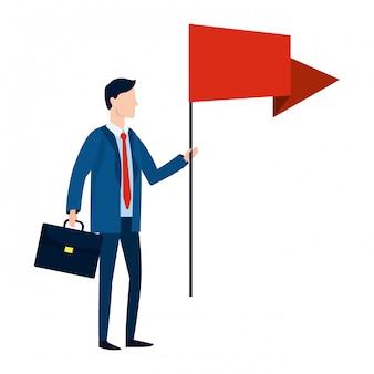 Desenho de avatar de empresário bem sucedido