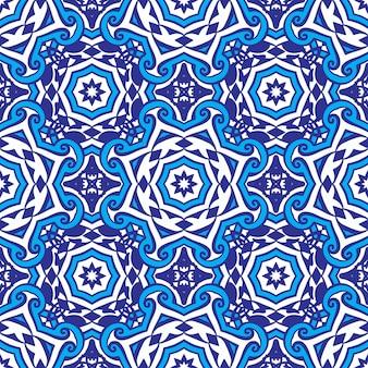 Desenho de azulejos de padrão geométrico azul sem costura em mosaico de estilo oriental islâmico