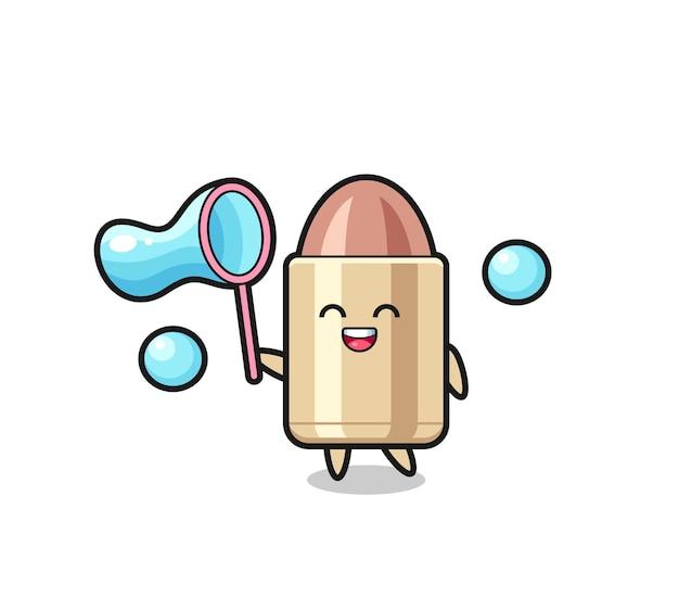 Desenho de bala feliz jogando bolha de sabão, design de estilo fofo para camiseta, adesivo, elemento de logotipo