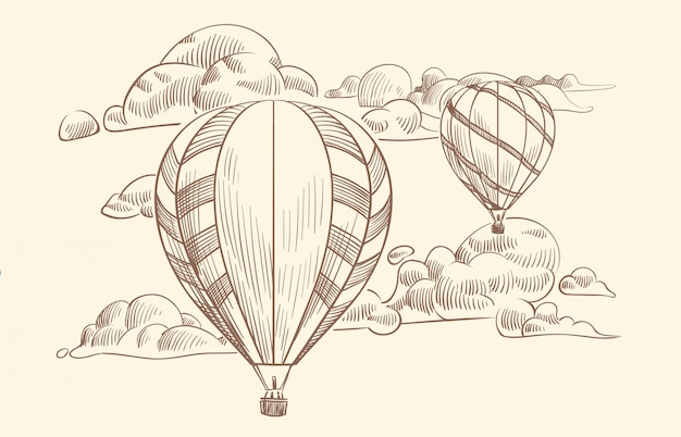 Desenho de balão de ar nas nuvens. voo viajar por balões de ar com cesta no céu nublado.