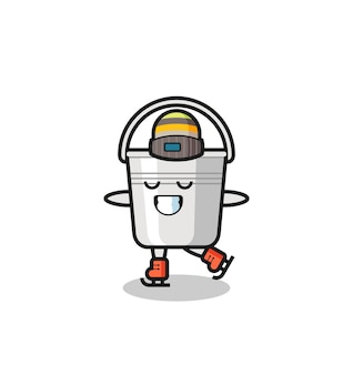 Desenho de balde de metal como um jogador de patinação no gelo fazendo performance, design de estilo fofo para camiseta, adesivo, elemento de logotipo