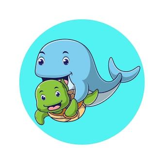 Desenho de baleia com tartaruga fofa