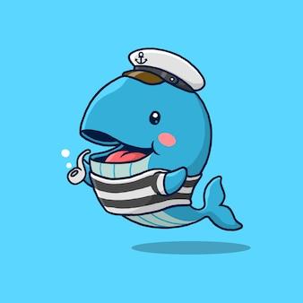 Desenho de baleia de um marinheiro isolado no azul