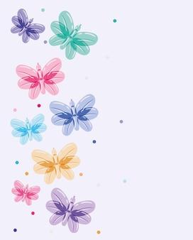 Desenho de balões e borboletas