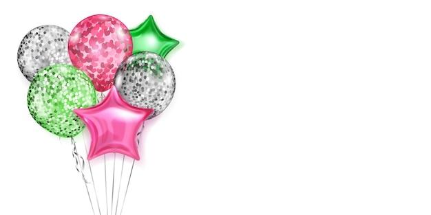 Desenho de balões prateados, rosa e verdes normais e em forma de estrela em fundo branco