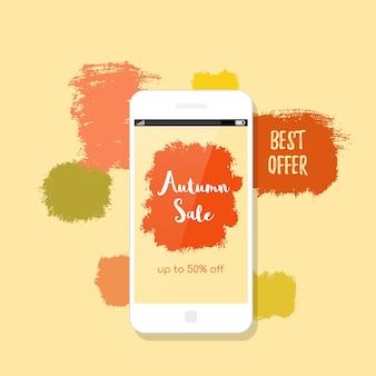 Desenho de bandeira de venda outono. telefone celular moderno e manchas de tinta no fundo.