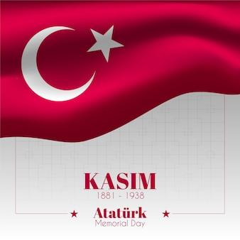 Desenho de bandeira dia do memorial de ataturk