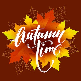 Desenho de bandeira sazonal de outono. folha de outono. ilustração vetorial eps10