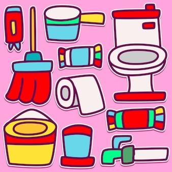 Desenho de banheiro engraçado doodle