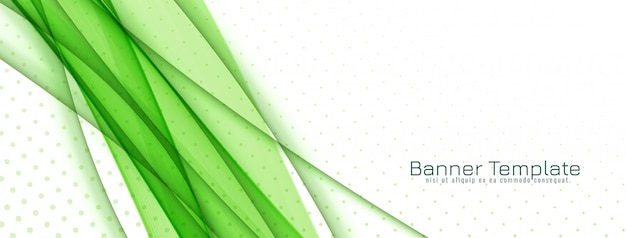Desenho de banner abstrato com estilo onda verde