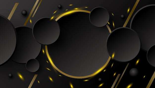 Desenho de banner abstrato de botão de círculo e linha dourada com faíscas